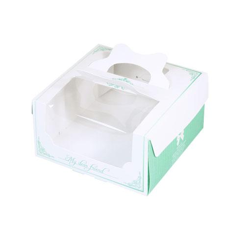 手提開窗西點盒/165x165/喬安娜(綠)