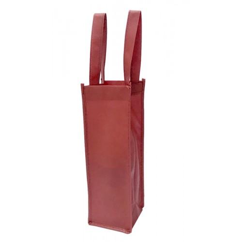 長條不織布手提袋單面印刷(酒紅色)